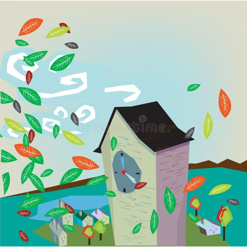 House in autumn vector illustration