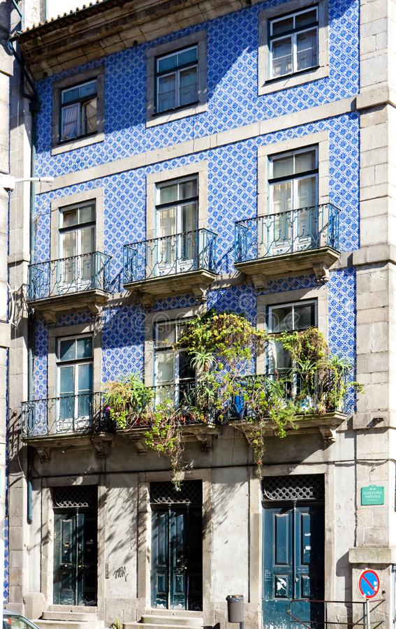 House with azulejos & x28;tiles& x29;, Porto, Douro Province, Portugal. Outdoor, outdoors, outside, exterior, exteriors, europe, western, oporto, town, towns stock images