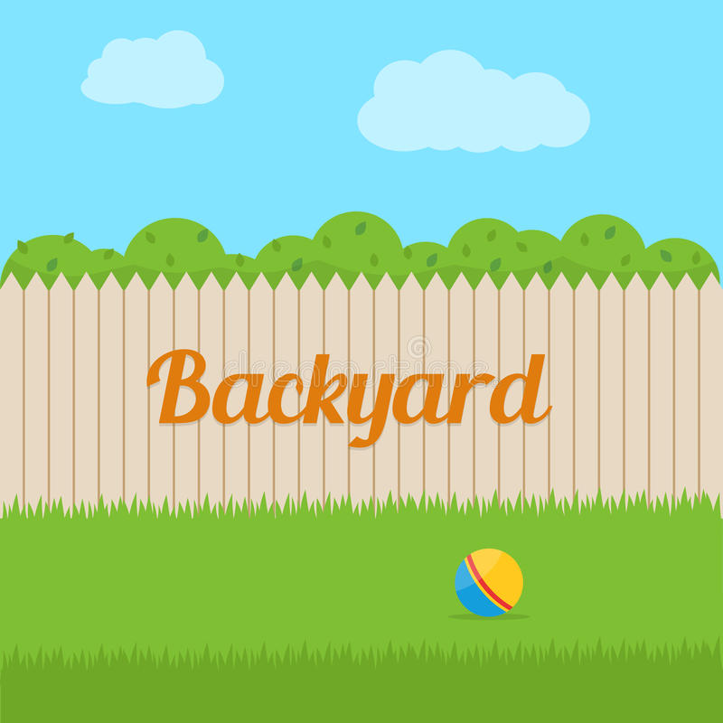 House backyard. Backyard of house. Flat style vector illustration royalty free illustration