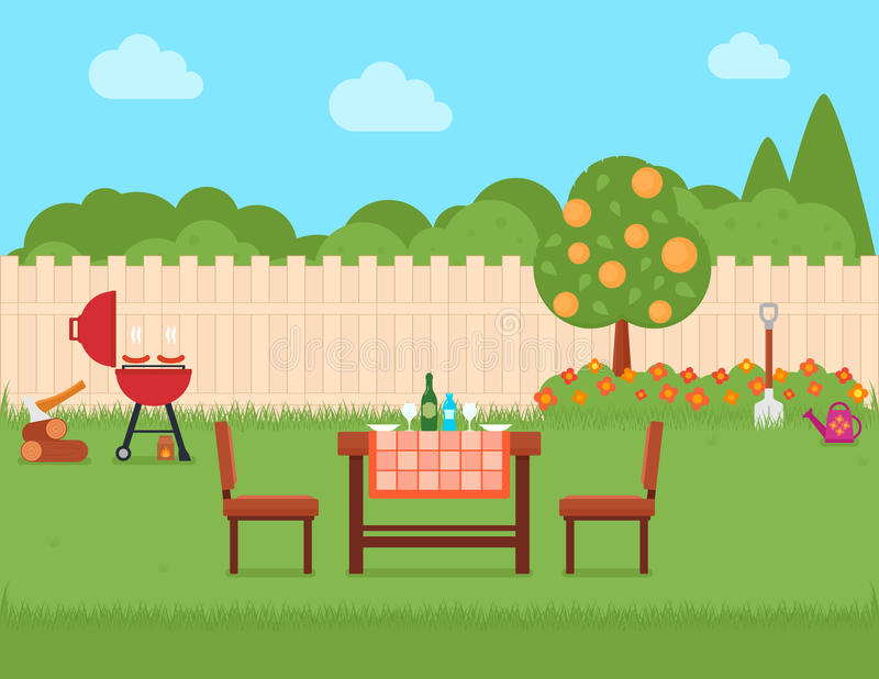 House backyard with grill and garden. Summer house backyard with grill and green garden stock illustration