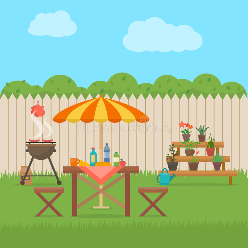 House backyard with grill. Outdoor picnic. Barbecue in patio. Flat style vector illustration stock illustration