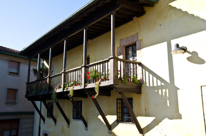 House with balcony stock images