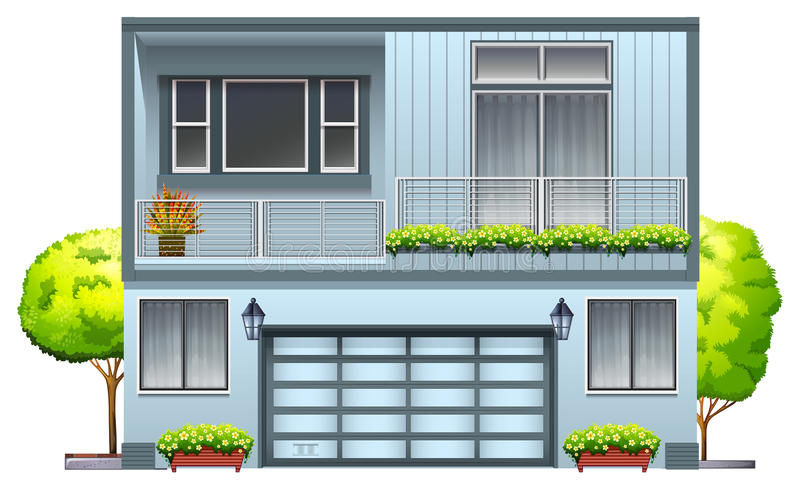 A house with balcony. On a white background royalty free illustration
