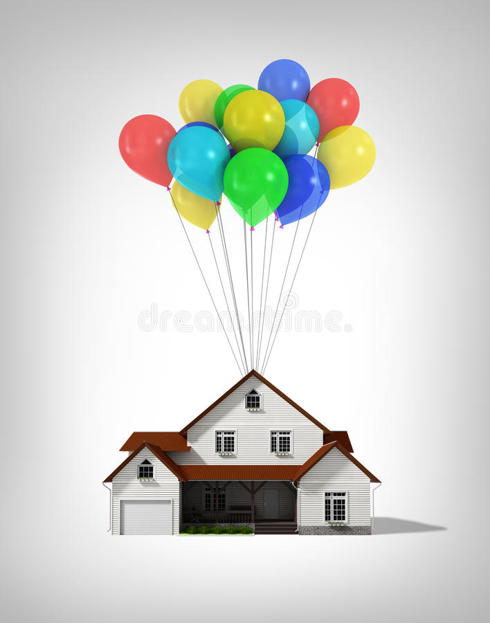 House and balloons on a white background stock photos