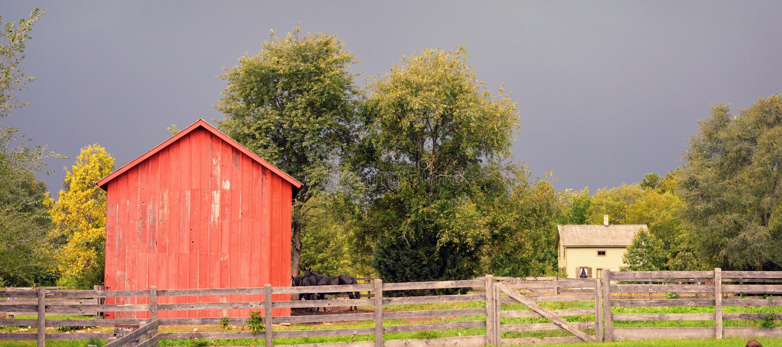 House Barn and Fence royalty free stock photos