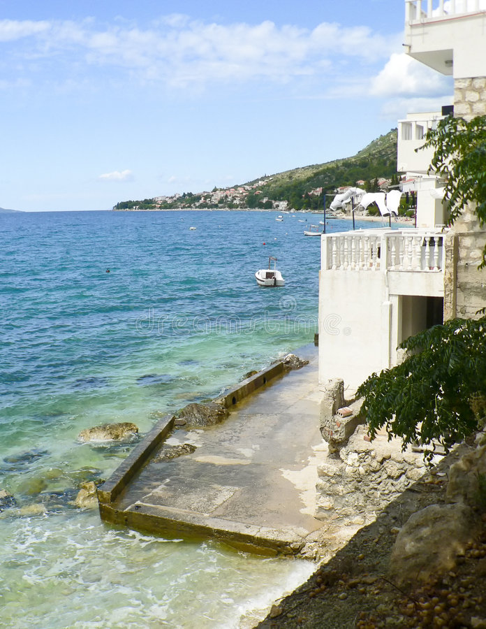 The house on the beach. Adriatic sea, Croatia royalty free stock photo