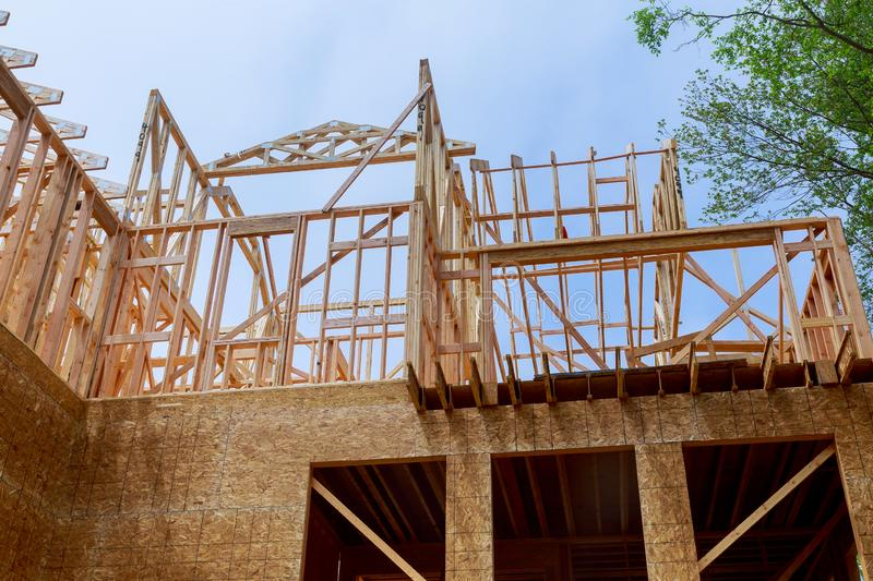House timber frame for a progressing house a new development timber. House beam frame for a progressing house building structure on a new development timber royalty free stock images