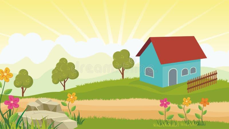 House with beautiful landscape stock illustration