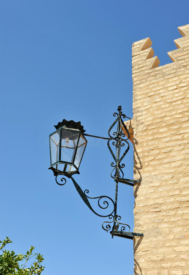 House of Blas Infante in Coria del Rio, Seville province, Andalusia, Spain. Iron lamp in the house where he lived Blas Infante, father of political nationalism stock photo