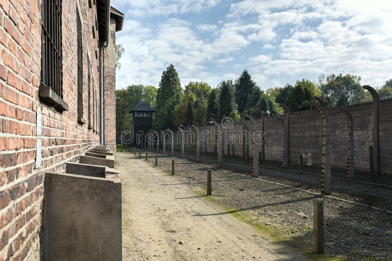 House block in concentration camp in Auschwitz, Poland. stock photos
