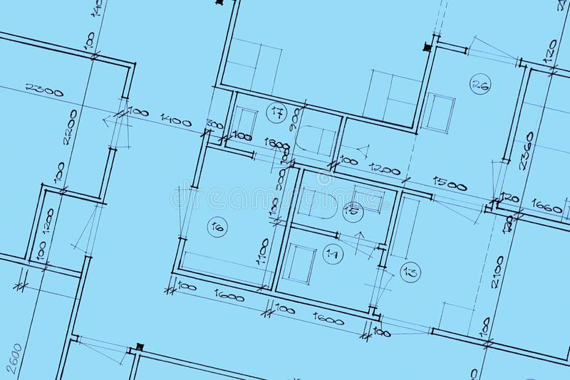 House Blue Prints Close Up royalty free stock photos