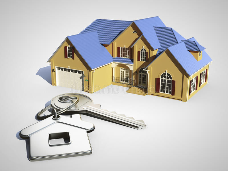 House with blue roof vector illustration