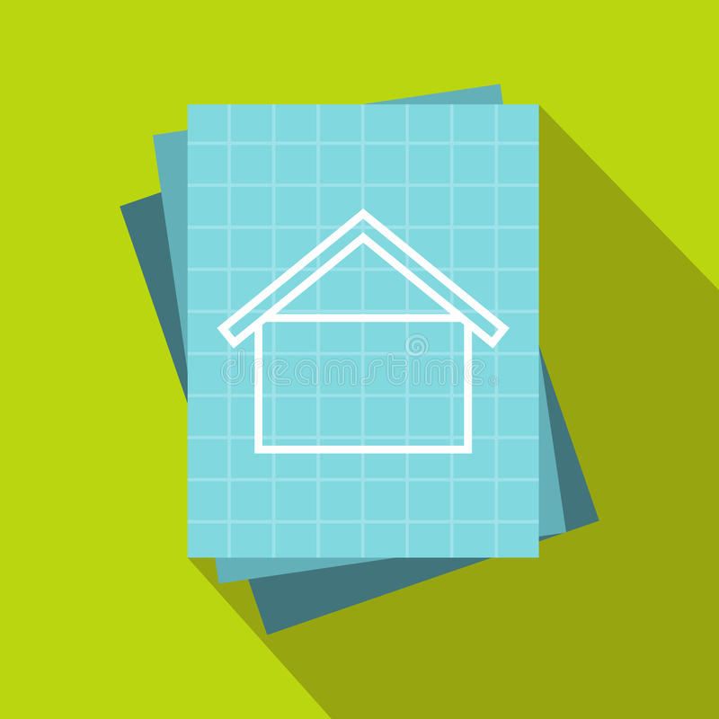 House blueprint icon, flat style vector illustration