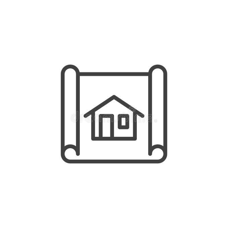 House blueprint line icon royalty free illustration