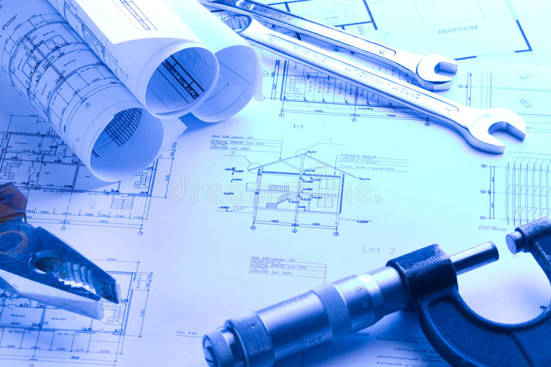 House blueprint with micrometer stock photography