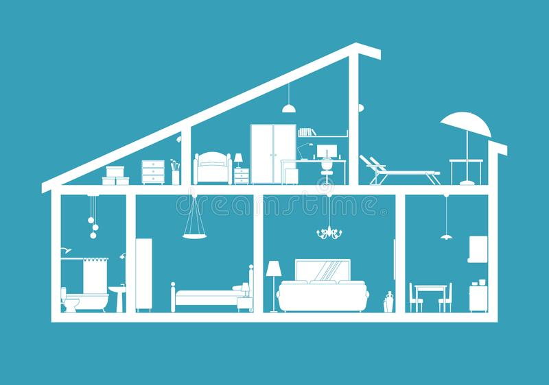 House blueprint - section view royalty free illustration