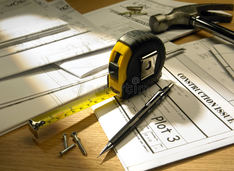 House blueprints. With tape measure stock photos