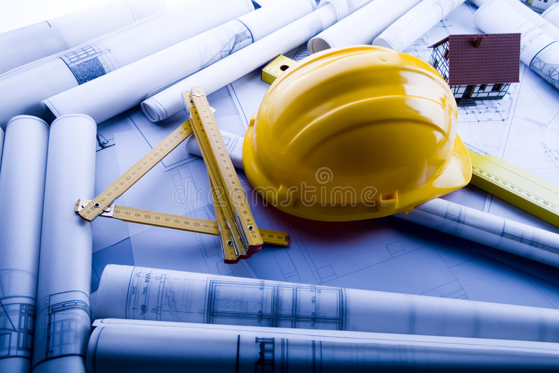 House blueprints close up stock images