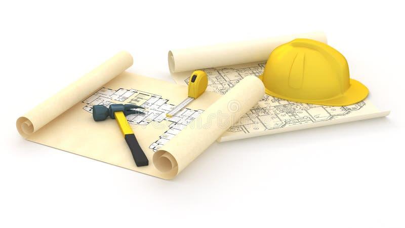 House blueprints and Yellow Hard royalty free illustration