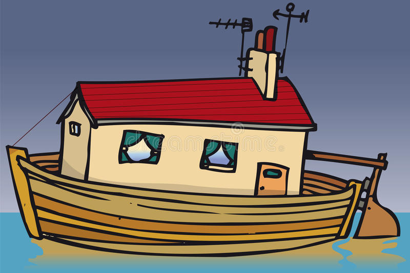 House boat. House built into boat on water vector illustration