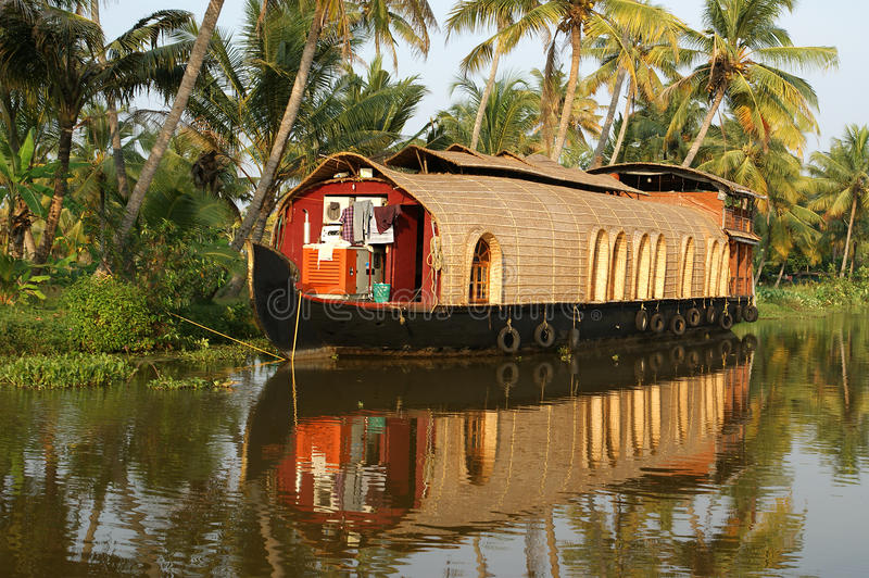 House boat in the Kerala (India) stock images