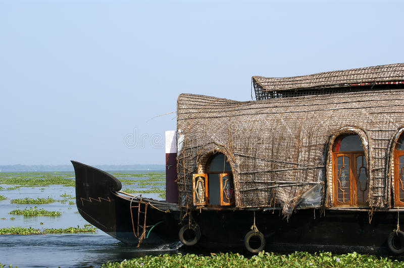 House boat in the Kerala (India) Backwaters. royalty free stock image