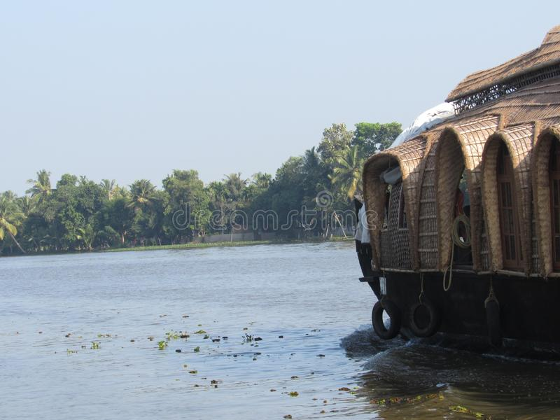 House Boat on the Waters on Kerala royalty free stock photo