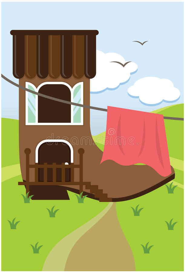 Download House in a boot stock vector. Image of roof, cloud, staircase - 19306928