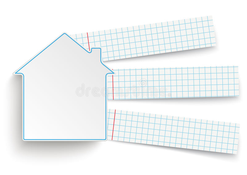 House Building Checked Paper Banners. House with 3 school paper banners stock illustration