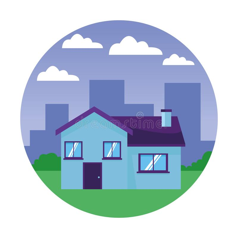 House building icon. Cartoon on the grass with cityscape background vector illustration graphic design vector illustration