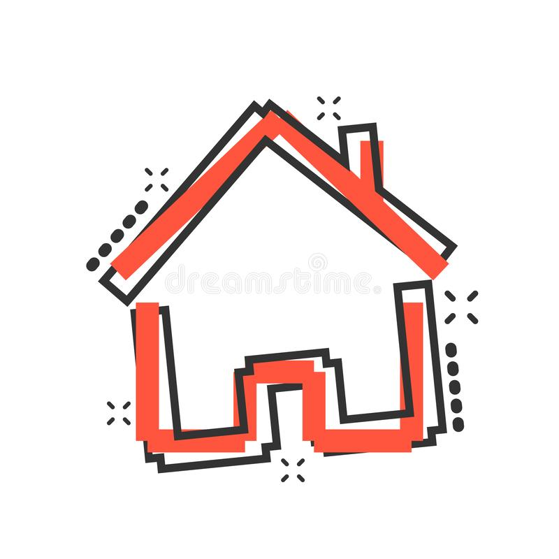 House building icon in comic style. Home apartment vector cartoon illustration pictogram. House dwelling business concept splash. Effect royalty free illustration