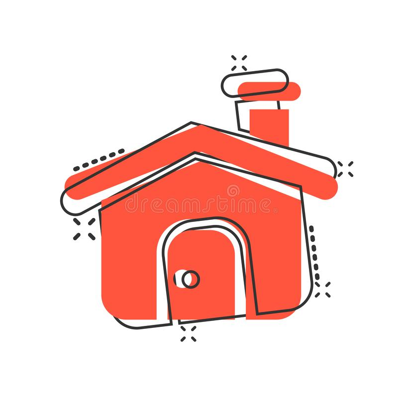 House building icon in comic style. Home apartment vector cartoon illustration pictogram. House dwelling business concept splash. Effect vector illustration