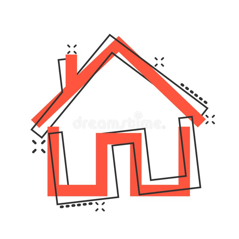 House building icon in comic style. Home apartment vector cartoon illustration pictogram. House dwelling business concept splash. Effect stock illustration