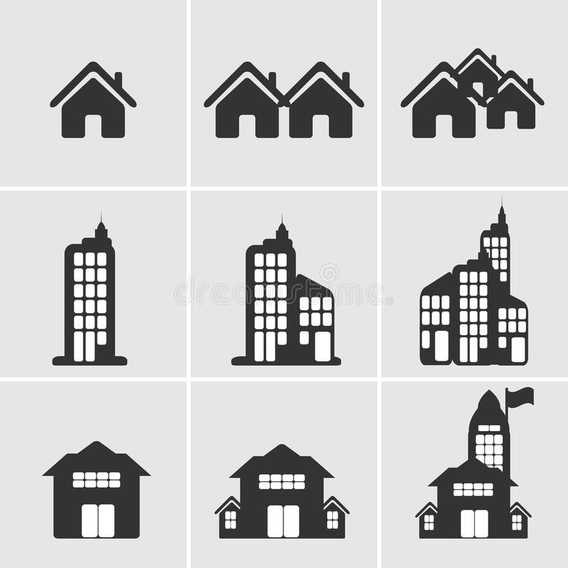 House building icon. Different icons of houses and buildings stock illustration