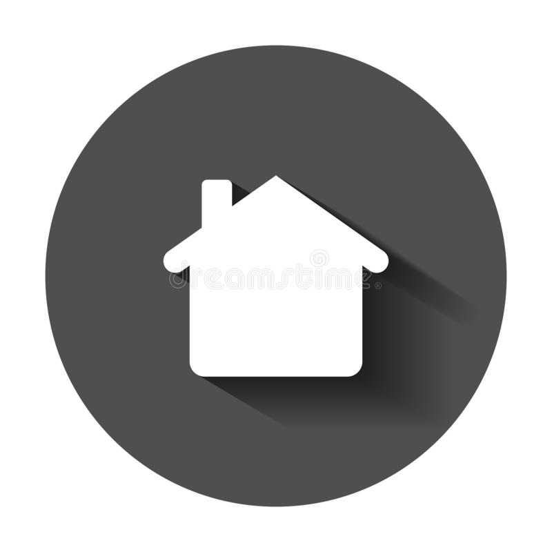 House building icon in flat style. Home apartment vector illustration with long shadow. House dwelling business concept. House building icon in flat style. Home vector illustration