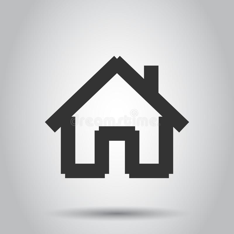 House building icon in flat style. Home apartment vector illustration on white background. House dwelling business concept.  stock illustration