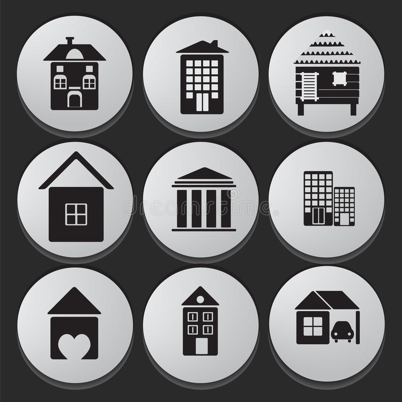 House and Building icon set. House and Building black white icon set collection of various buildings royalty free illustration