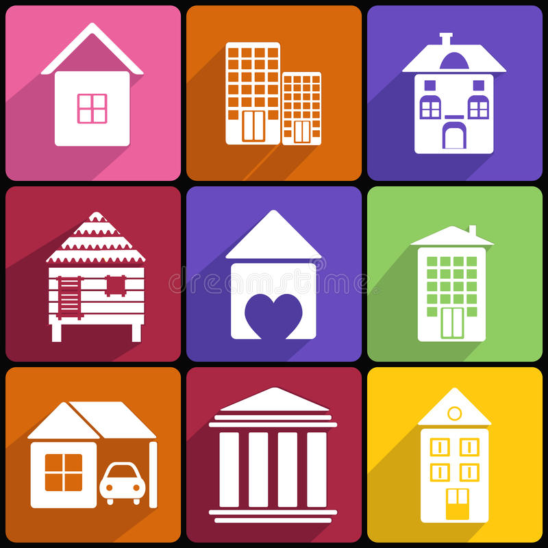 House and Building icon set. Collection of various buildings royalty free illustration