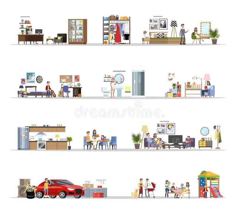 House building interior with the garage set stock illustration