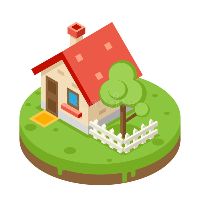 House Building Private Property Tree Icon Real. Estate Meadow Background Flat Design Vector Illustration royalty free illustration