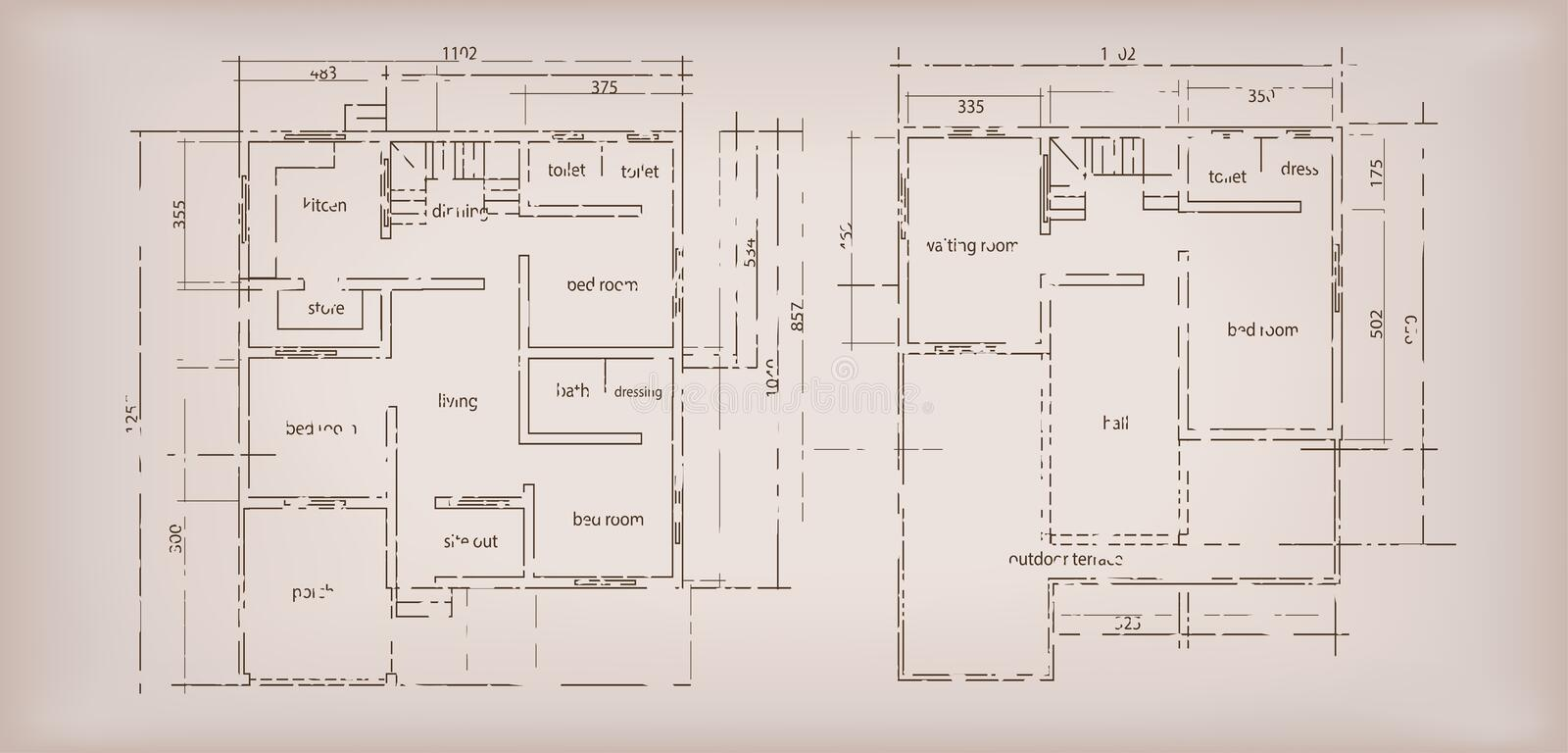 House building structure sketch plan drawing vintage for Horizontal house plans