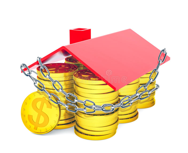 House built of gold dollars is entangled in chain vector illustration