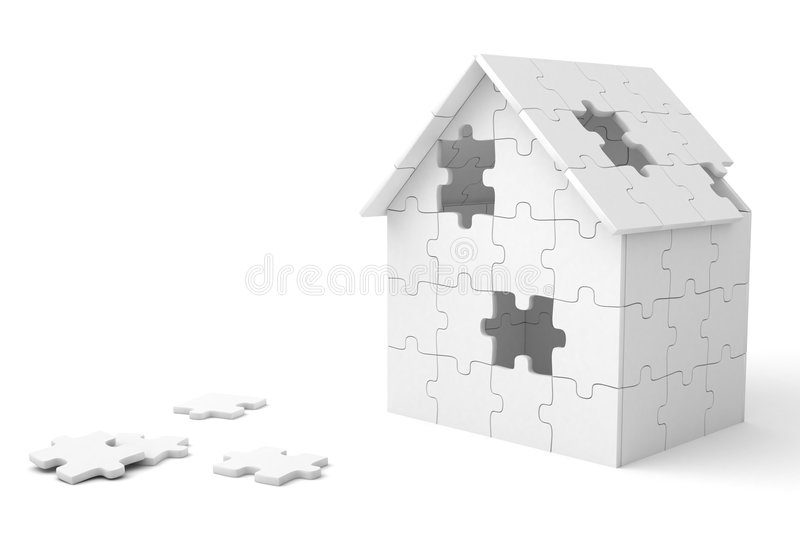 House built out of puzzle pieces. 3d render of a house built out of puzzle pieces vector illustration