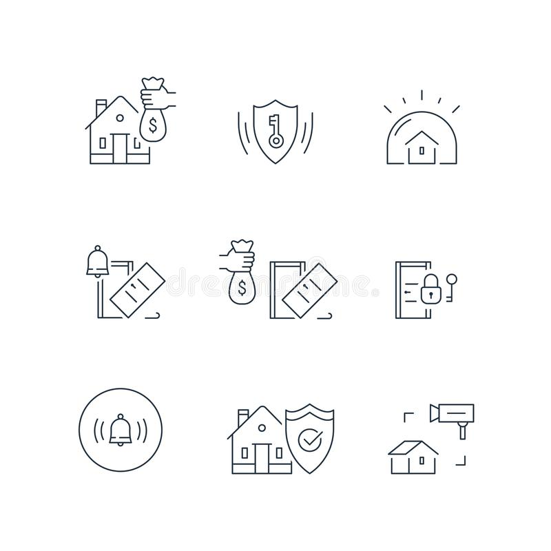 House video camera surveillance, alarm guard system, home security, burglary protection, property break in insurance, stroke icon stock illustration