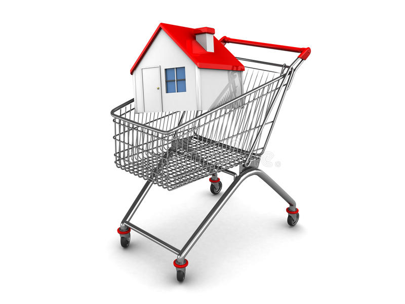 House buying. 3d illustration of shopping cart with house inside, over white background