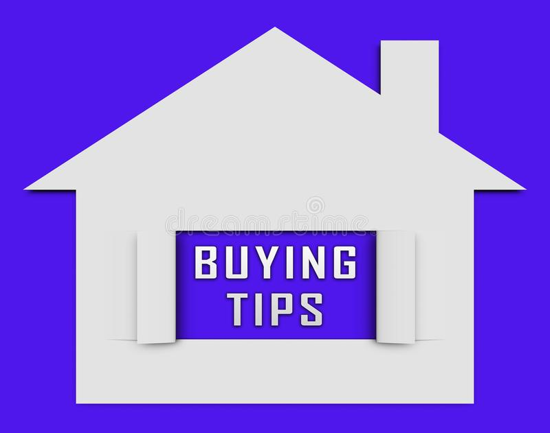 House Buying Tips Icon Depicts Assistance Purchasing Residential Property - 3d Illustration royalty free illustration