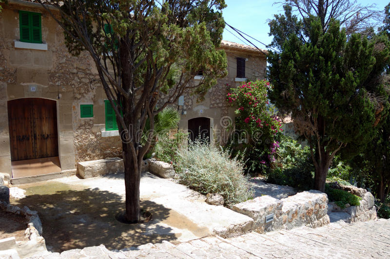 House on Calvary steps. The front garden of houses on the calvary steps, Pollensa, Mallorca stock images