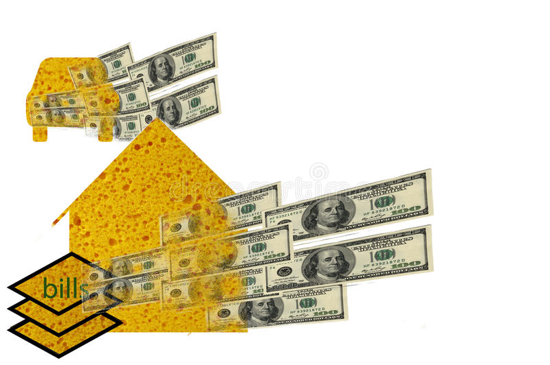 Download House, Car, Bills Sponges Soaking Up Dollars Stock Photo - Image: 28067428