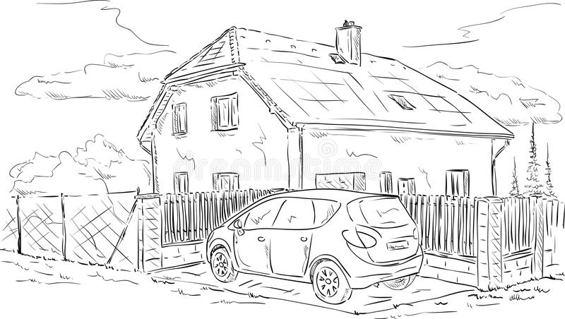 Download House and car stock vector. Image of outline, vehicle - 34447926