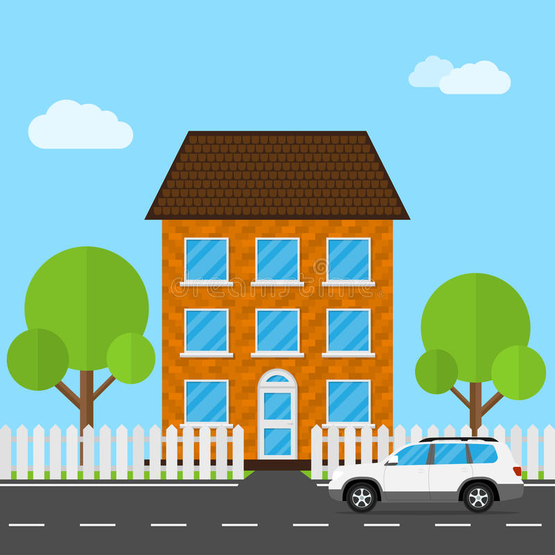 House and Car. Flat style illustration of landscape view with car, trees, fence and living house stock illustration
